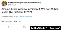 Twitter Menteri Luar Negeri RI Retno Marsudi.(Foto: Courtesy/Twitter Menlu RI)