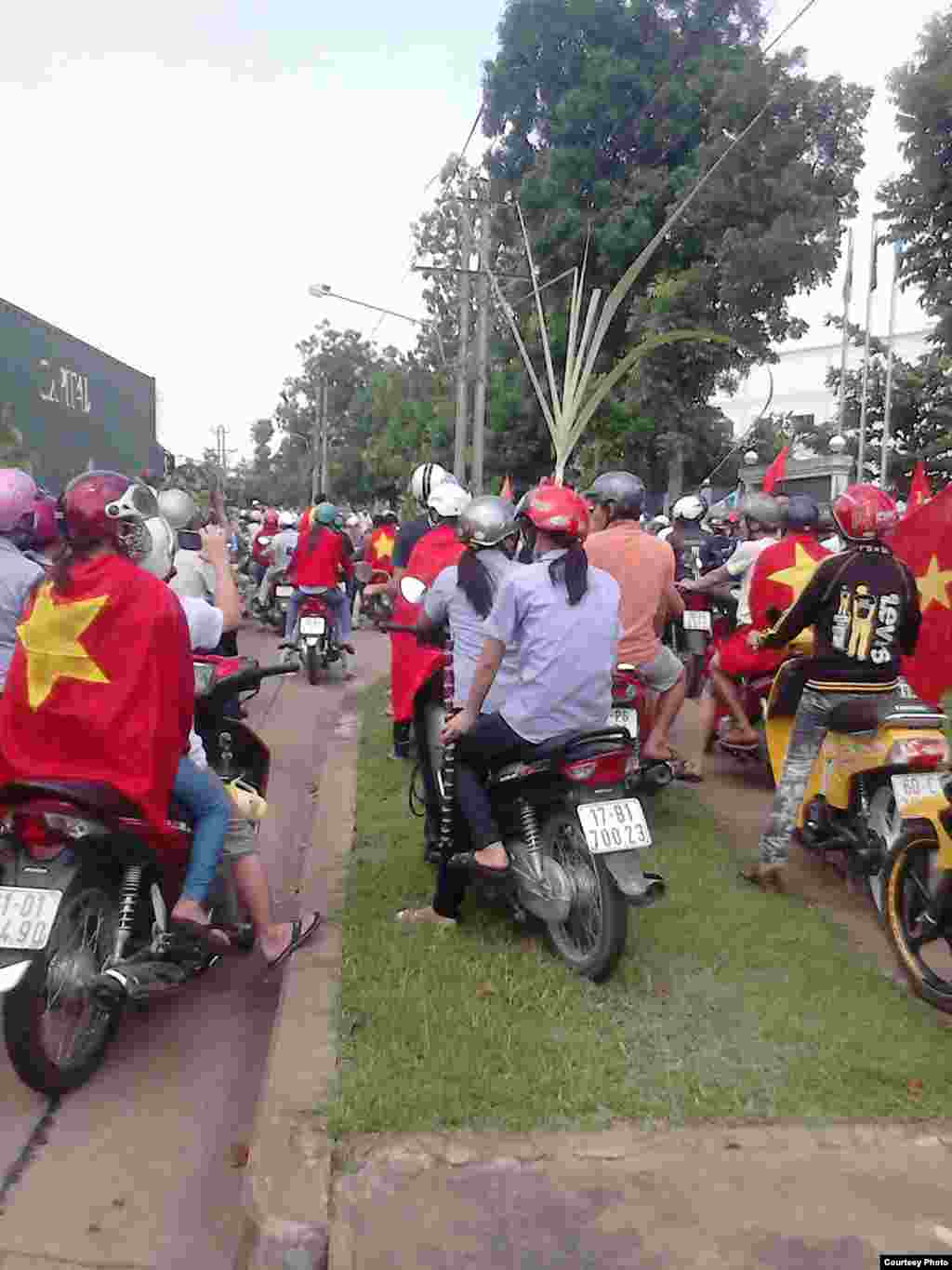 Protesters gathered at Amata Industrial Park, Bien Hoa City, Dong Nai Province, Vietnam.