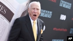 "Mel Brooks attends the Los Angeles Premiere of ""If You're Not In The Obit, Eat Breakfast,"" at the Samuel Goldwyn Theater in Beverly Hills, Califоrnia, on, May 17, 2017."