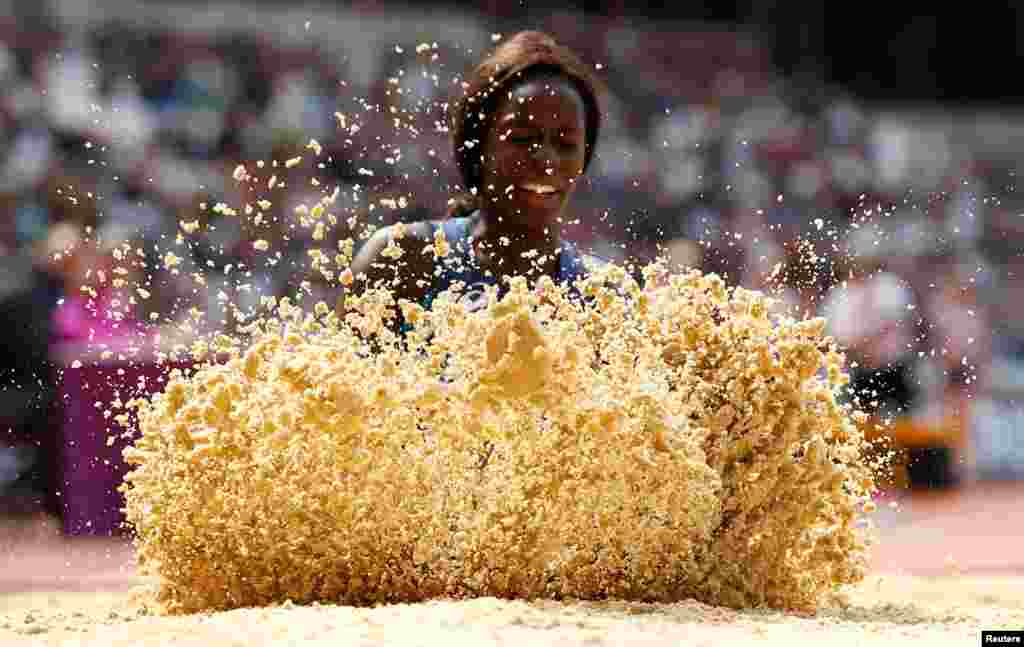 Angelina Lanza of France competes in the Women's Long Jump T47 Final at the IAAF World Para Athletics Champioins in London.