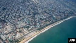 Bãi biển Nha Trang nhìn từ máy bay
