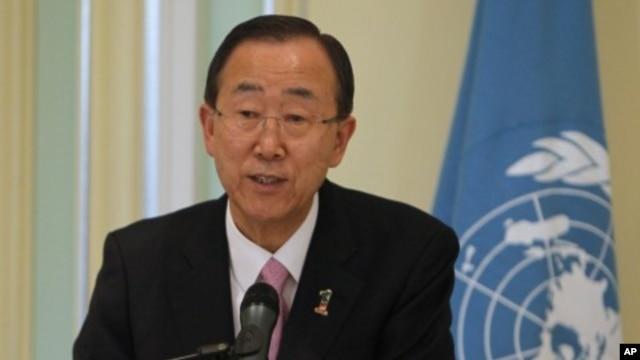 U.N. Secretary-General Ban Ki-moon speaks during a news conference  in Putrajaya outside Kuala Lumpur March 22, 2012.