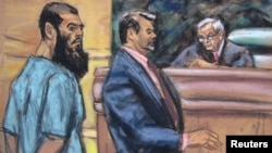Abid Naseer (L) is seen in a courtroom sketch with his attorney Steven Brounstein (C) and Judge Raymond Dearie as he pleads not guilty to terrorism charges in his first U.S. court appearance in New York January 7, 2013.
