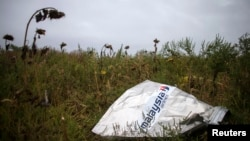 FILE - A piece of wreckage of downed Malaysia Airlines flight MH17 is pictured near the village of Hrabove, Donetsk region, eastern Ukraine, Sept. 9, 2014.