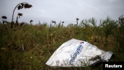 FILE - a piece of wreckage of downed Malaysia Airlines flight MH17 is seen near the village of Hrabove, Donetsk region, eastern Ukraine, Sept. 9, 2014.