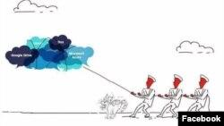 """Biếm họa """"Dịch chuyển đám mây điện toán"""" được lan truyền trên Facebook sau khi Quốc hội biểu quyết thông qua Luật An ninh mạng."""