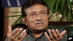 Former Pakistani President Pervez Musharraf, speaks during a press conference in Karachi, Pakistan, Mar. 31, 2013.