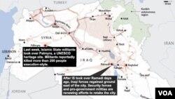 이슬람 수니파 무장반군 ISIL이 장악한 시리아의 역사 도시 팔미라 지역(왼쪽)과 이라크 라마디 지역(오른쪽).