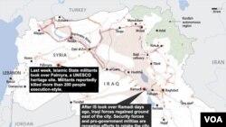 이슬람 수니파 무장반군 ISIL이 장악한 시리아의 역사 도시 팔미라 지역(왼쪽)과 이라크 라마디 지역(오른쪽)