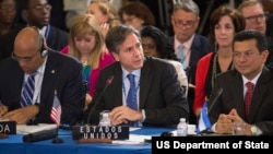 Deputy Secretary Antony Blinken (center) delivers remarks during the General Assembly of the Organization of American States (OAS).
