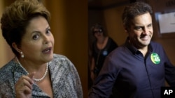 Brazil's President Dilma Rousseff, presidential candidate for re-election, in Rio de Janeiro, Brazil, Oct. 23, 2014. Her opponent, Aecio Neves (right), in Rio de Janeiro, Oct. 24, 2014.