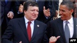 Праворуч: Президент США Барак Обама та голова Єврокомісії Жозе Мануель Баррозу