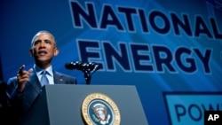 El presidente Barack Obama habla sobre energía renovable en el Centro de Convenciones Mandalay Bay Resort, en Las Vegas.