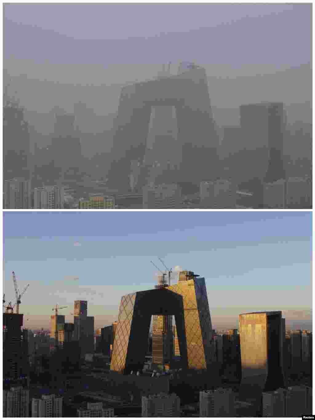 北京中央电视台大楼和北京中央商务区对比图,上图有雾霾(2015年11月28日),下图为冷空气赶走雾霾后(2015年12月2日))