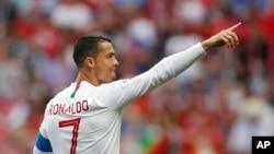 Le Portugais Cristiano Ronaldo après avoir marqué le premier but lors du match du groupe B entre le Portugal et le Maroc lors de la Coupe du monde 2018, le 20 juin 2018.