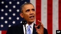 Presiden Barack Obama saat menyampaikan pidato kenegaraan di hadapan Kongres AS di Washington DC (28/1).