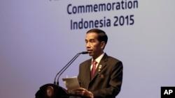 Presiden Joko Widodo berpidato dalam KTT Asia Afrika di Jakarta (23/4).