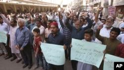 巴基斯坦卡拉奇,巴基斯坦人抗議譴責新西蘭清真寺槍擊事件。(2019年3月15日)