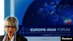 Helga Schmid, secretary general of the European External Action Service, addresses the 4th Europe-Iran Forum in Zurich, Oct. 4, 2017. Schmid will lead talks next week toward a new Iran deal.