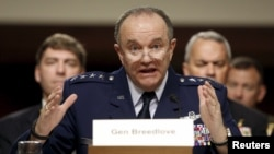 NATO commander U.S. Air Force Gen. Philip Breedlove is seen testifying at a Senate Armed Services Committee hearing on Capitol Hill in Washington, April 30, 2015.