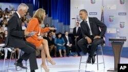 奥巴马总统9月20日在迈阿密大学参加一个与选民见面的会议