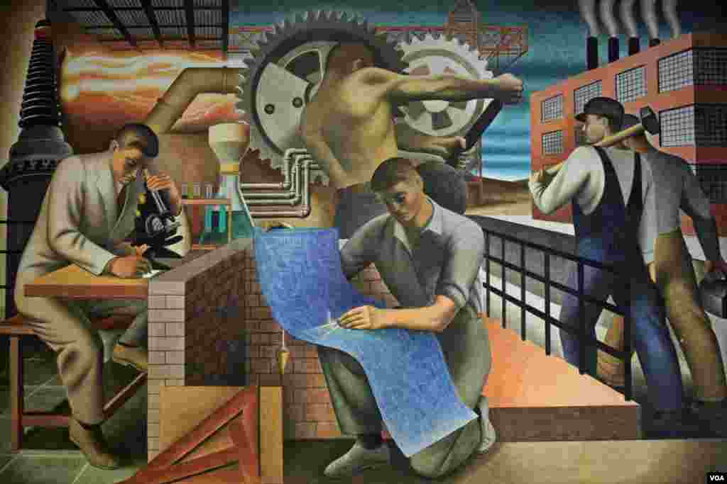 """Bustling with work and activity, """"The Wealth of the Nation"""" by Seymour Fogel is an interpretation of the theme of Social Security"""