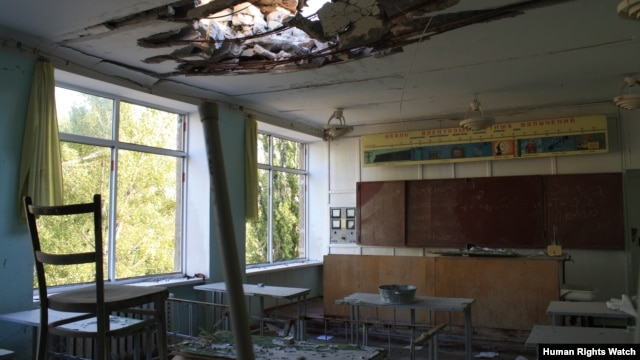 School Number 42 in Vuhlehirsk was struck six times in January and February 2015.