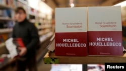 "The book ""Soumission"" (""Submission"" by French author Michel Houellebecq is displayed in a bookstore in Paris, Jan. 7, 2015."