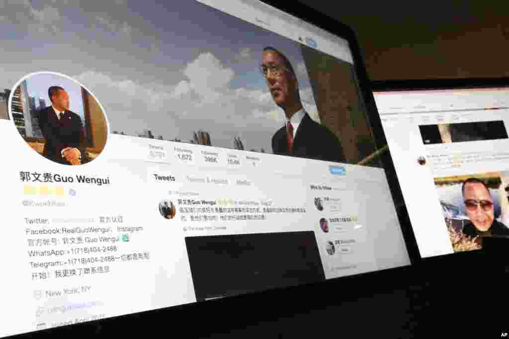 """北京一个电脑显示屏上有郭文贵的推特的影像。郭文贵表示,对他的强奸指控""""百分之百是假的。如果是真的,两年前她应该在美国报案啊。"""" 郭文贵说她叫马蕊,行为不端,也变成中纪委的卧底。美国国家公共电台报道,郭文贵""""对中共统治精英发起了社交媒体战。虽然他在许多视频中用爆丑闻方式攻击中共领导人,但他非常小心地回避了对国家主席习近平的指责。"""""""