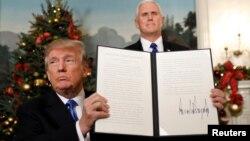 El presidente de Estados Unidos Donald Trump el 6 de diciembre de 2017, durante el anuncio de reconocimiento de Jerusalén como la capital de Israel.