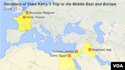 Secretary of State Kerry's Trip to the Middle East and Europe June 22 – 27