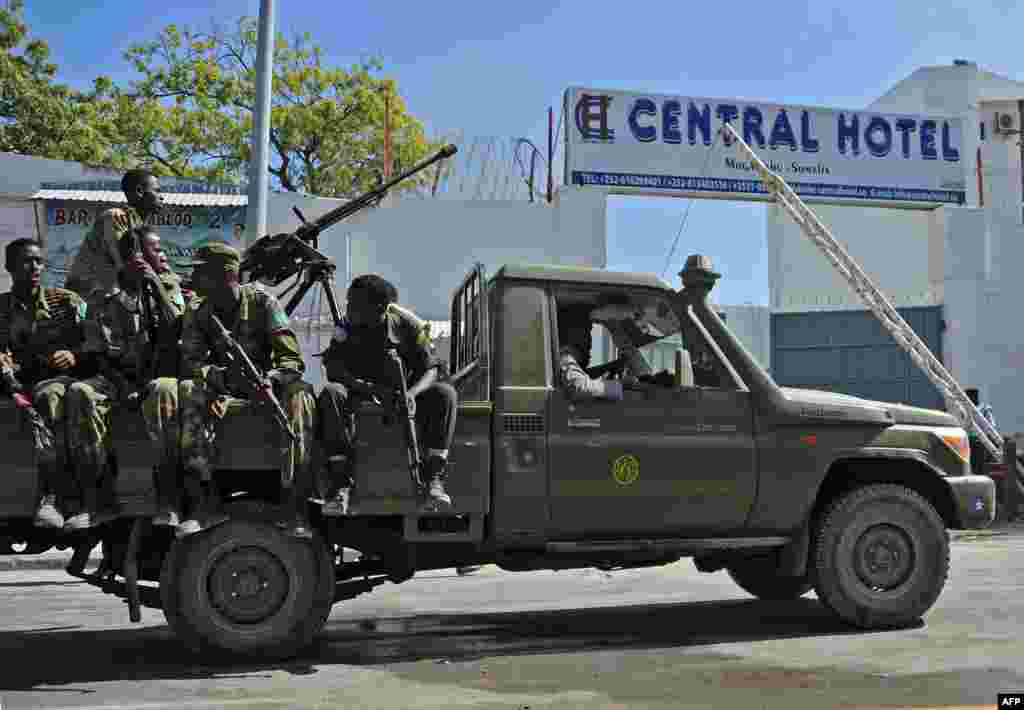 Somali security forces guard the entrance to the Central Hotel, close to the presidential palace in Mogadishu.