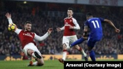 La recrue vedette d'Arsenal Pierre-Emerick Aubameyang a marqué son premier but pour ses débuts sous ses nouvelles couleurs contre Everton, lors de la 26e journée de Premier League, Angleterre, 3 février 2018. (Twitter/Arsenal)