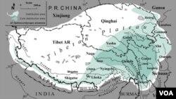 Map: Cordyceps distribution area, Tibet.