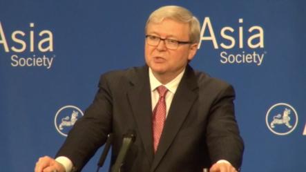 亚洲协会政策研究所负责人、前澳大利亚总理陆克文(美国之音方冰拍摄)