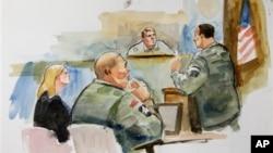 Bức phac họa phiên tòa xử Trung sĩ Bales