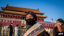 天安門廣場1月23日出現的藏族遊客。
