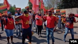 Protesting members of the National Metalworkers Union of South Africa