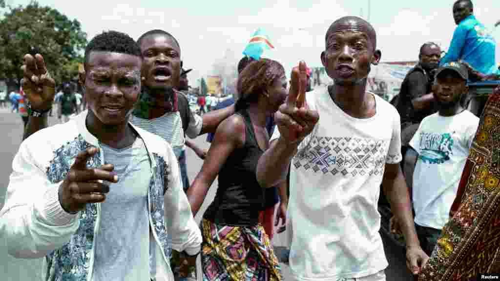 Des manifestants de l'opposition congolaise à Kinshasa, le 19 septembre 2016.