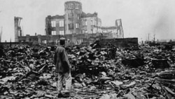 Ruins left by the explosion of an atomic bomb over Hiroshima, Japan, August 6, 1945
