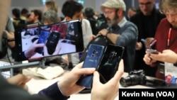 Peluncuran ponsel pintar Samsung Galaxy S9 Smartphone di Barcelona, Spanyol, 25 Februari 2018.