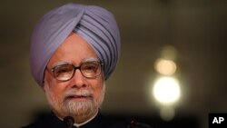 FILE - Indian Prime Minister Manmohan Singh speaks during the release of the 'Report to the People', a self-assessment report, in New Delhi, India, May 22, 2013.
