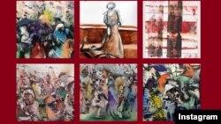 عکسی از نمونه کارهای علی بنی صدر یکی از هنرمندانی که آثارش در موزه بریتانیا عرضه شده است.