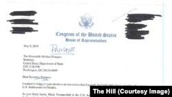 Письмо конгрессмена Сешнса госсекретарю Майку Помпео