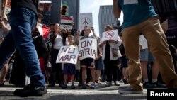 지난 달 31일 미국 뉴욕시 타임스퀘어에서 시리아 군사 개입에 반대하는 시위가 열렸다.