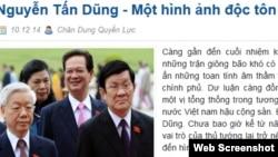 Một bài viết về Thủ tướng Việt Nam Nguyễn Tấn Dũng trên trang 'Chân dung quyền lực'.