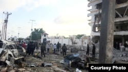 Severe damage from a car bomb explosion is visible at the Hotel Jazeera in Mogadishu, Somalia, July 26, 2015. (Courtesy photo by Mohamed Moalimuu)