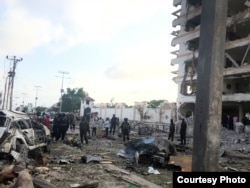 A car bomb rips through the Jazeera hotel in Mogadishu, Somalia, Sunday morning, July 26, 2015. (Courtesy photo by Mohamed Moalimuu)