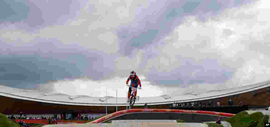 Laura Smulders of the Netherlands competes in the BMX cycling seeding run.