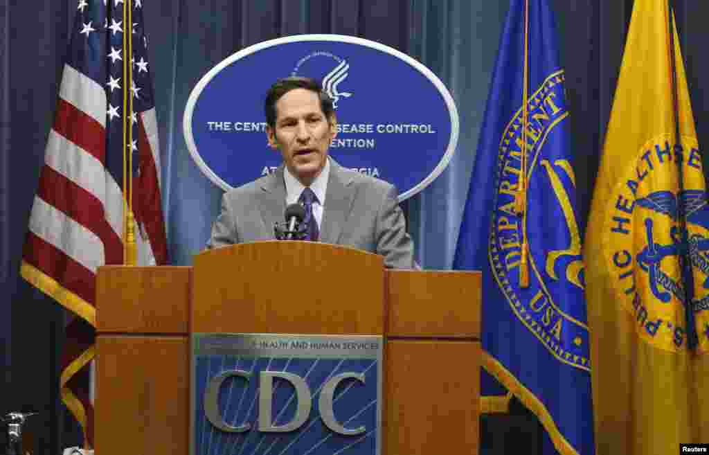 Centers for Disease Control and Prevention Director Dr. Thomas Frieden speaks at the CDC headquarters saying that a patient being treated at a Dallas hospital is the first person diagnosed with Ebola in the U.S., in Atlanta, Georgia, Sept. 30, 2014.